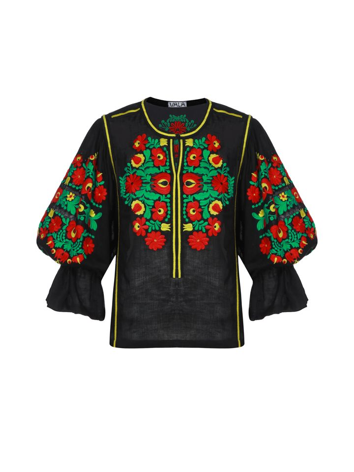 Dark blouse with bright embroidery