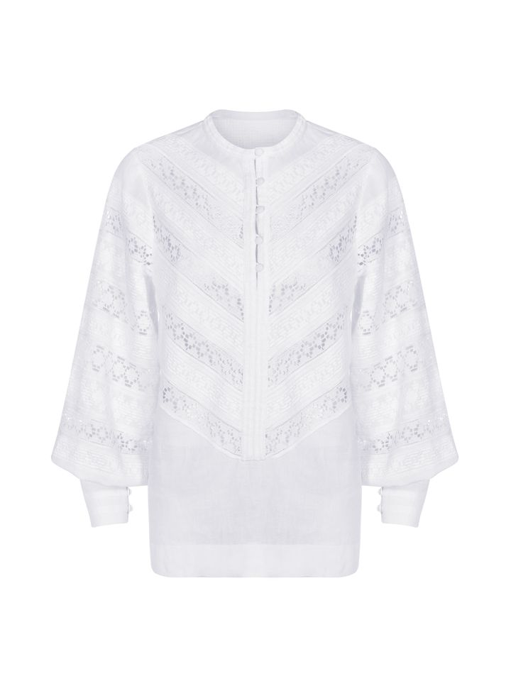"Blouse with lace ""Classic white"""